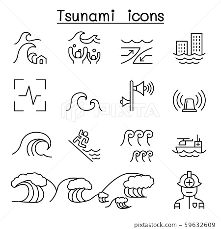 Tsunami & Storm icons set in thin line style 59632609
