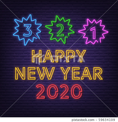 new year countdown neon signboard 59634109