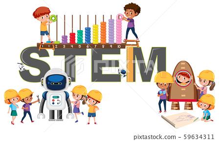 A logo of STEM education 59634311