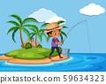 A man fishing at the island 59634323