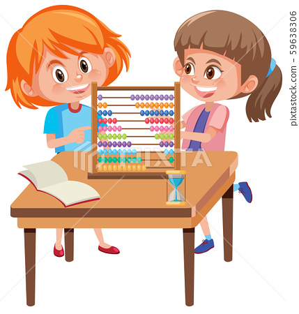 Children learning math with abacus 59638306