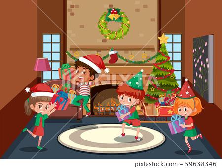Happy children celebrate christmas 59638346