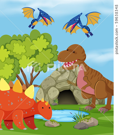 Group of dinosaur in nature 59638348