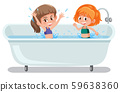 Girls playing in bathtub 59638360