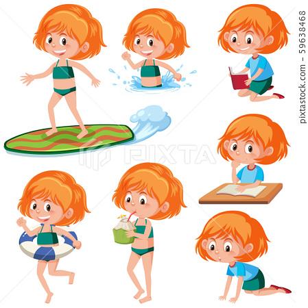 Ginger headed girl activity character 59638468