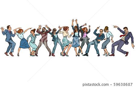 dancing people businessmen and businesswomen 59638687