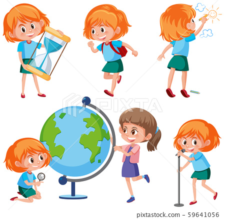 Set of redhead girl characters 59641056