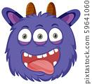 A playful monster face 59641060