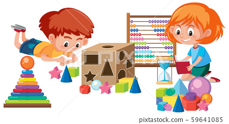Kids playing with math toy 59641085