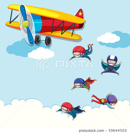People jumping out of a plane 59644503