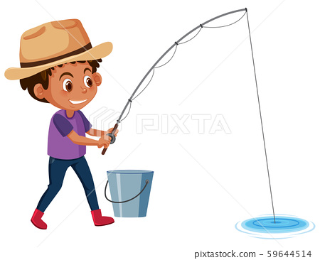Young boy fishing white background 59644514