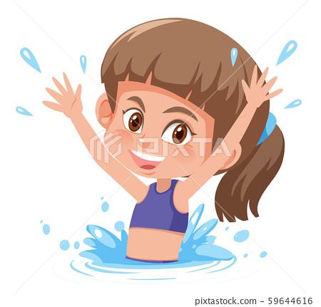 Young girl splashing in water 59644616