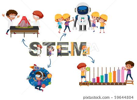STEM logo with activity 59644804