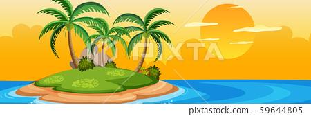 Summer island at sunset 59644805