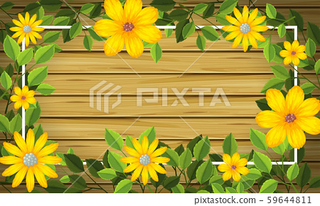 Yellow flower on wooden frame 59644811