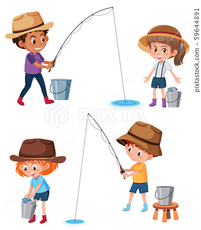 Set of children fishing 59644891