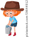 A red hair girl carry bucket full of fish 59644912