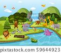Animals in waterfall scene 59644923