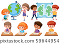 Children with learning tools on white background 59644954