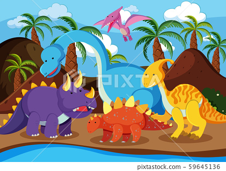 Flat dinosaur in nature 59645136
