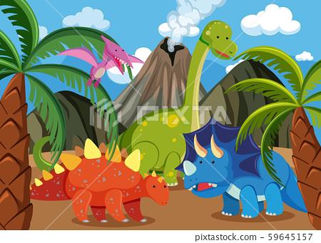 Many dinosaur in nature 59645157