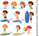 Children summer character on white background 59645171