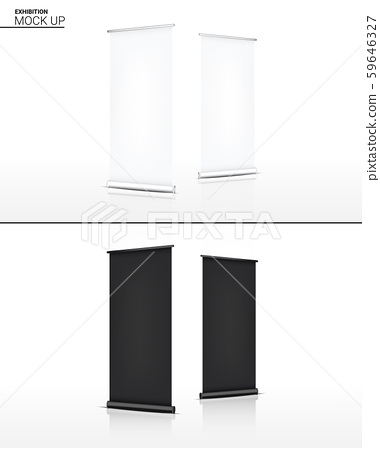 Mock up Realistic Roll up Banner Kiosk Display 3D 59646327