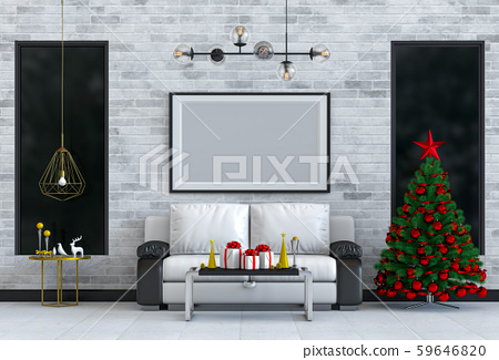 mock up poster frame Christmas interior living room. 3d rendering 59646820
