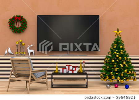 mock up smart tv. Christmas interior living room. 3d render 59646821
