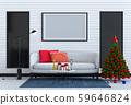 Christmas interior living room. 3d render 59646824