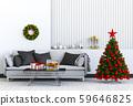 Christmas interior living room. 3d render 59646825