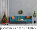 Christmas interior living room. 3d render 59646827