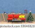 Christmas interior living room. 3d render 59646829