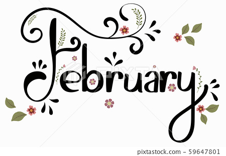 February month vector with flowers and leaves. Decoration text floral. Hand drawn lettering. Illustration february calendar	 59647801