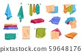 Cartoon towels. Bath rolled fabric, kitchen hand textile cloth and washcloth for dishes, family 59648176