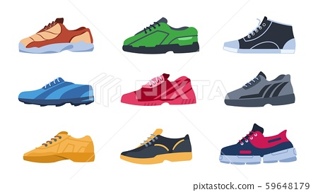 Sneakers. Flat colorful sport shoes with different shapes, trendy stylish color footwear. Vector 59648179