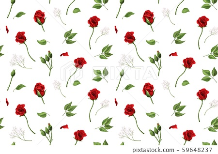 Red rose flowers and green leaves elements vector seamless pattern 59648237