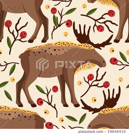 Brown elk vector pattern. 59648410