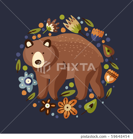 Brown bear with flower. Vector. 59648454