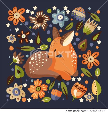 Little fawn woodland animal card. 59648456