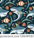 Funny shark fish Pattern. 59648583