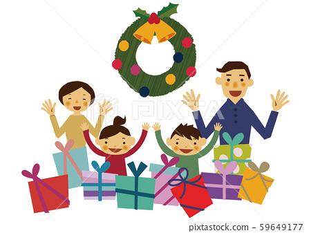 聖誕晚會。慶祝聖誕節的家庭。 59649177