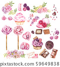 Watercolor sweets collection. Hand drawn watercolor cakes illustrations. Wedding cake, cake with 59649838