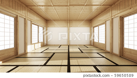 Empty yoga room inteior with tatami mat floor.3D 59650589