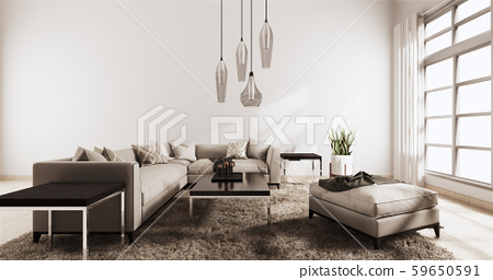 Living room modern style with white wall 59650591