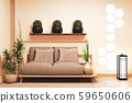 sofa wooden japanese design, on room  japanese 59650606