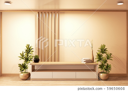 Cabinet wood design japanese style on Living room 59650608
