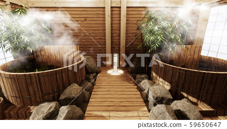Onsen room interior with wooden bath 59650647