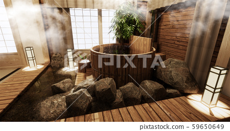 Onsen room interior with wooden bath 59650649