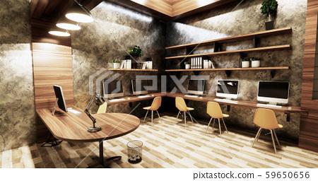 Office studio loft style interior design 59650656